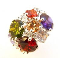 Rainbow Rhinestone Set Statement Dress Ring